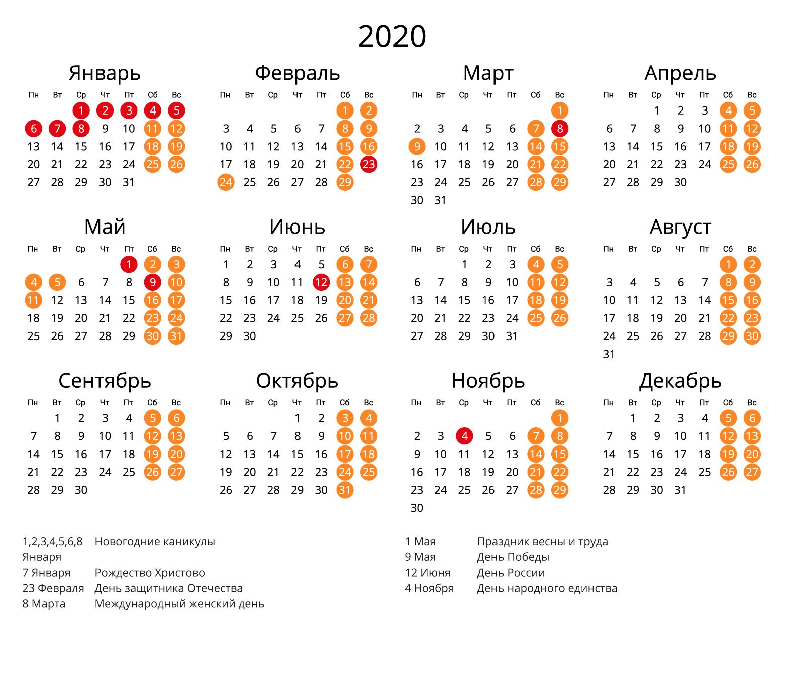 Календарь 2020 с праздниками и выходными