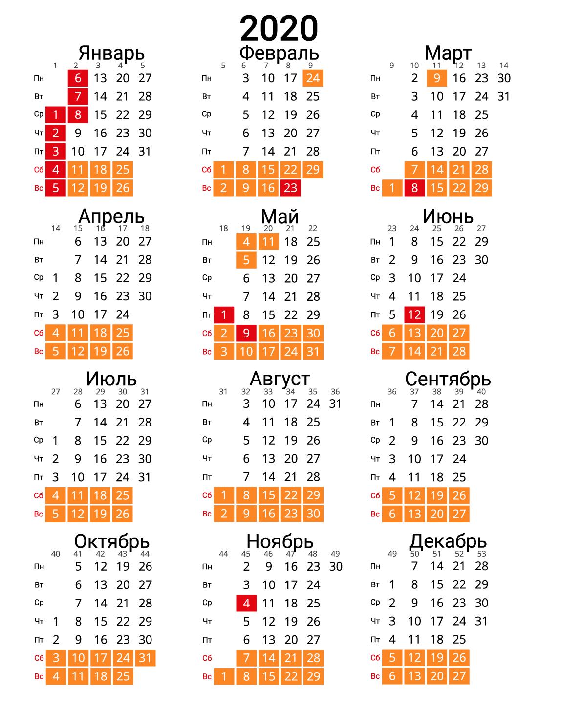 Календарь 2020 (вертикальный) с номерами недель