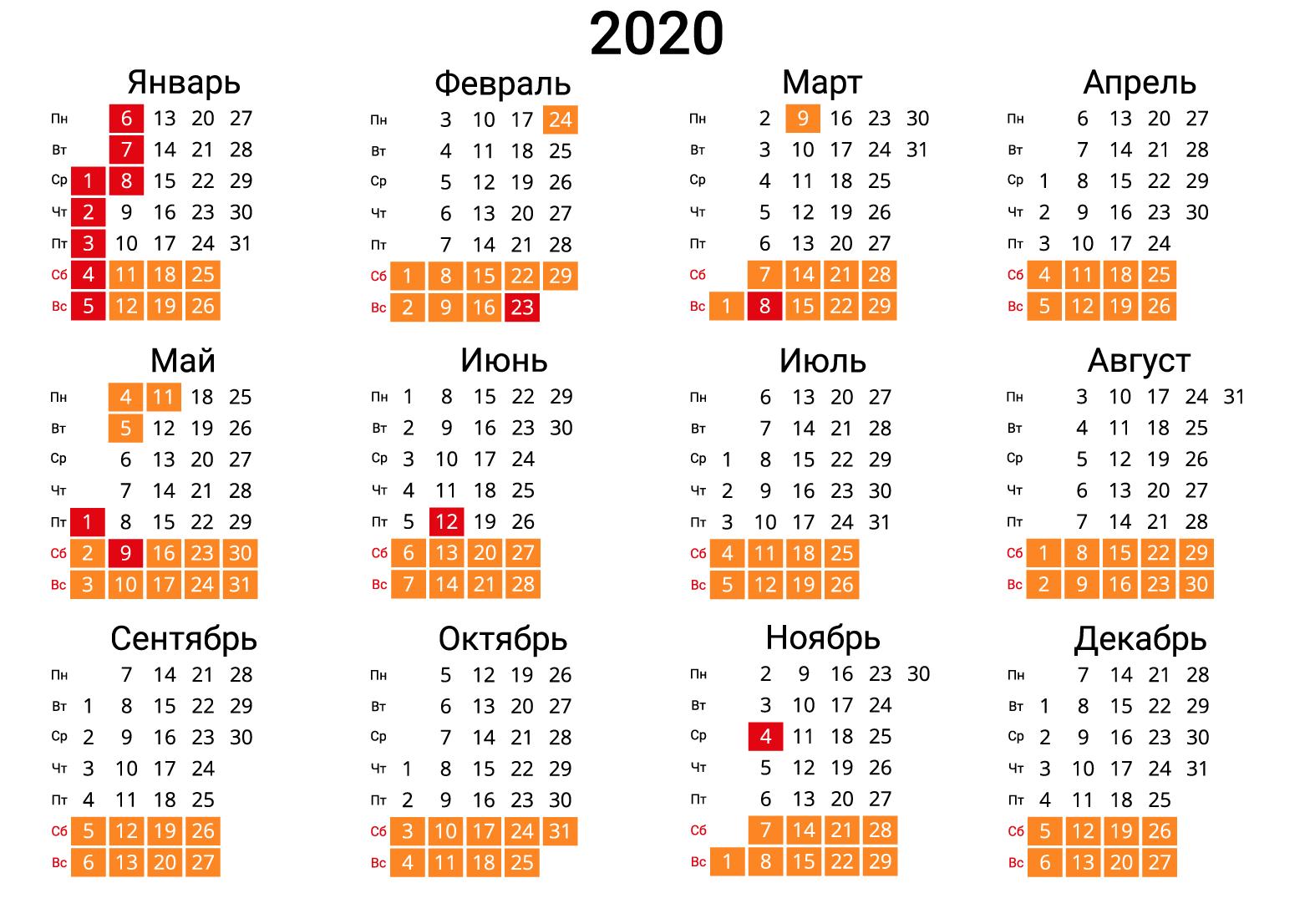 Календарь на 2020 год вертикальный