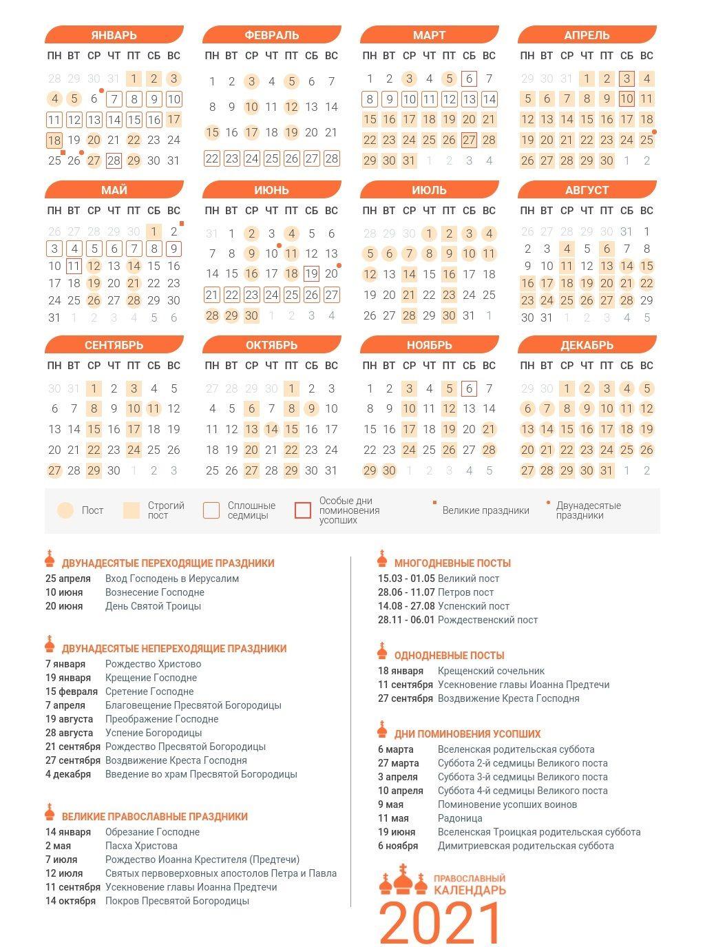 церковный календарь на 2021 год