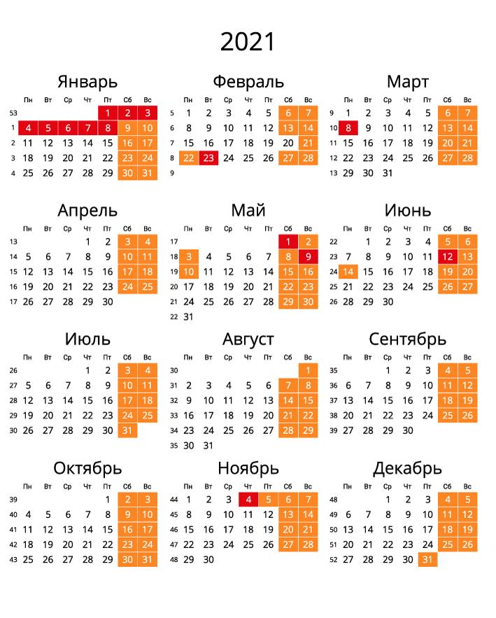 календарь 2021 с номерами недель