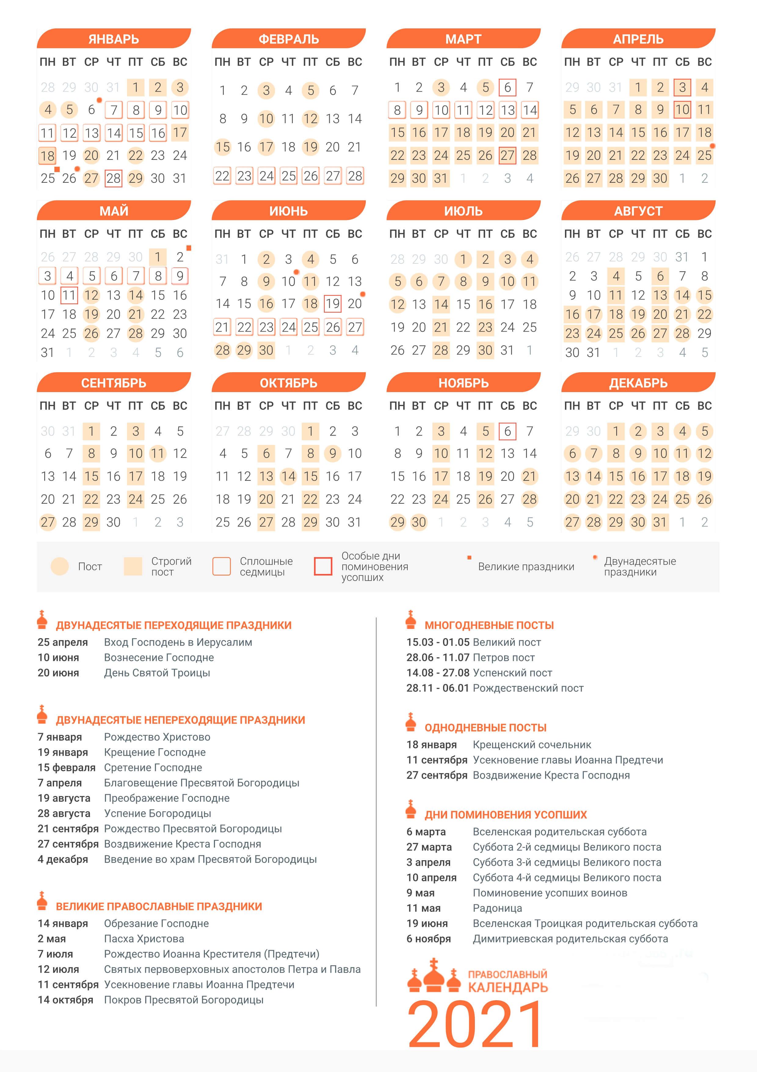 церковный православный календарь праздников на 2021 года