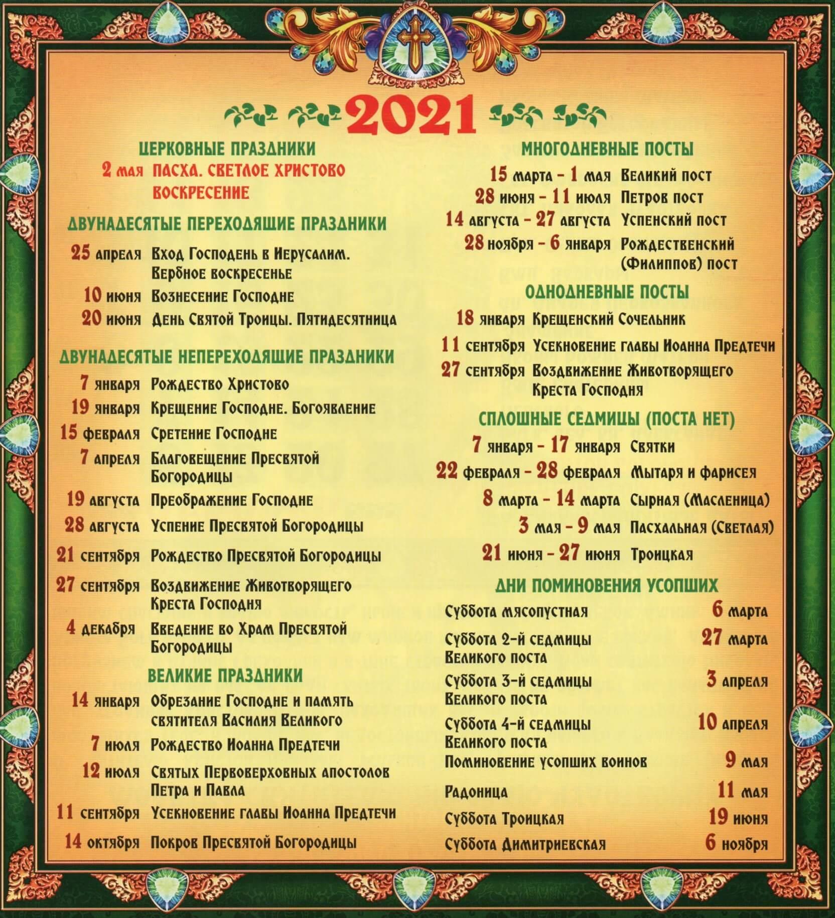 календарь основных церковных праздников и постов на 2021 год