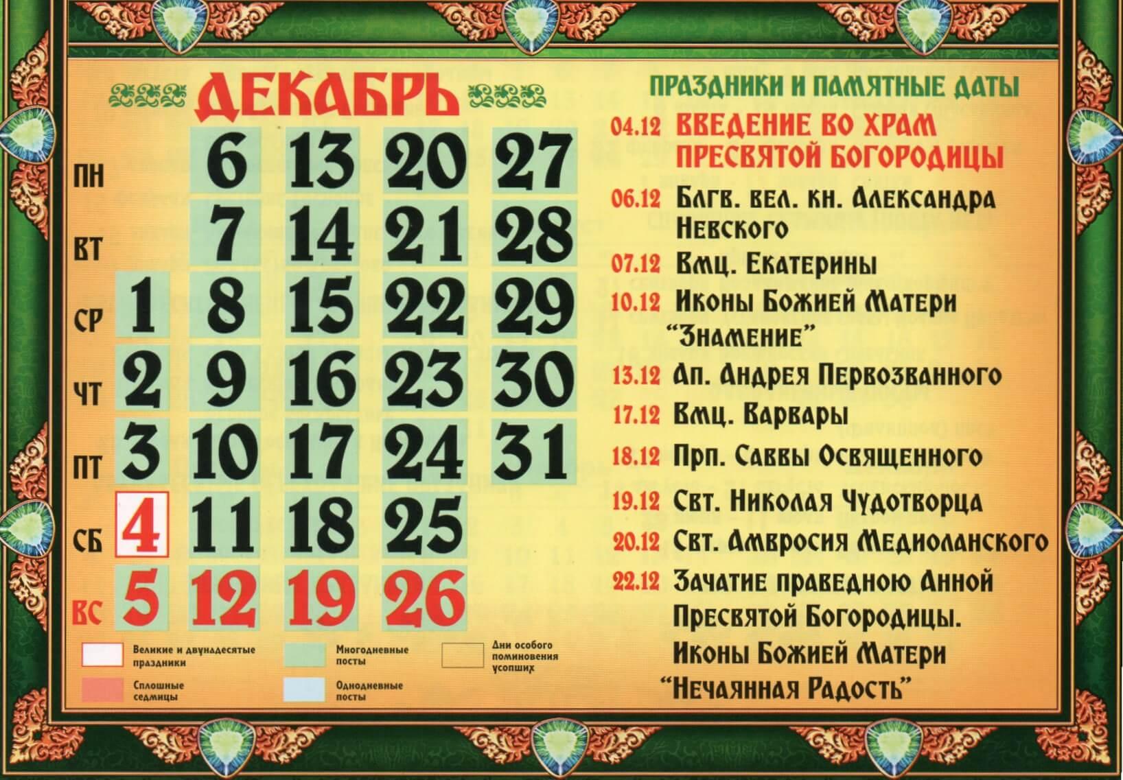 Православные церковные праздники в декабре 2021 года