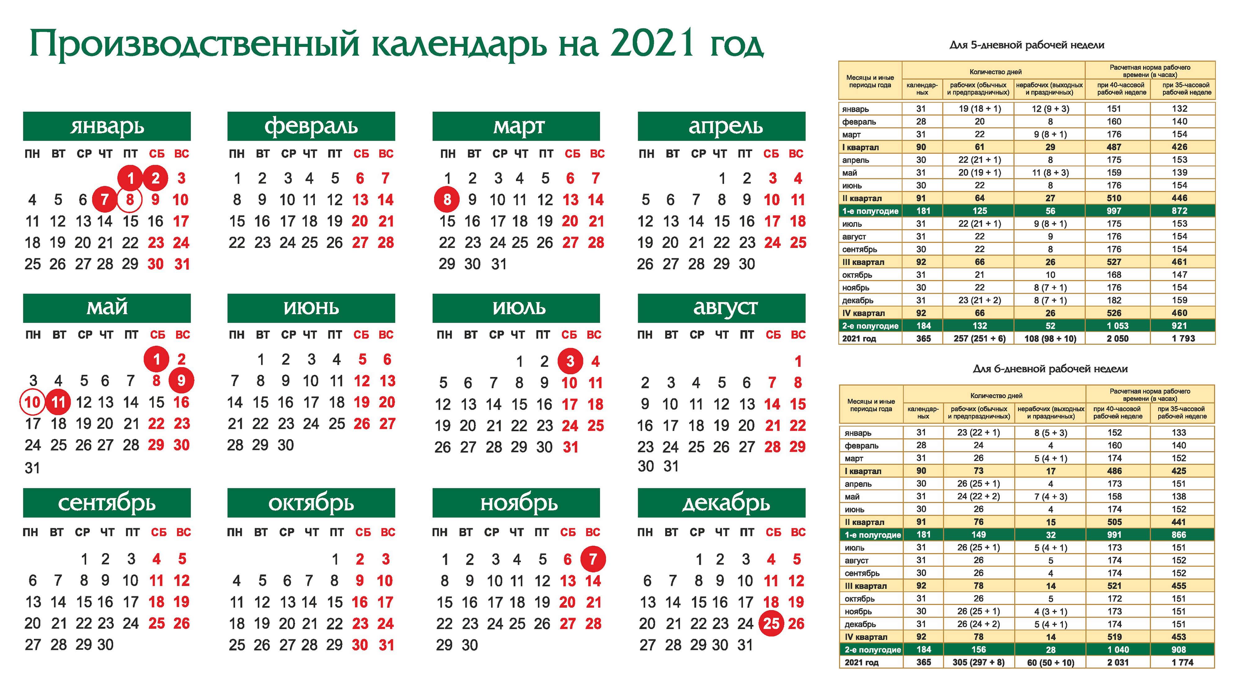 Беларусь – Производственный календарь на 2021 год (горизонтальный)