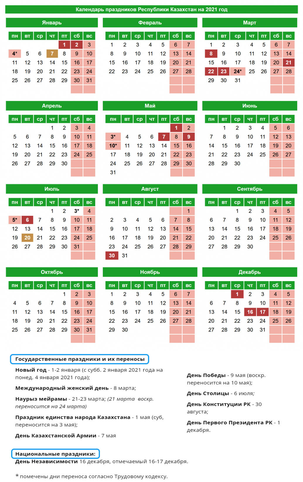 Казахстан – Производственный календарь на 2021 год (вертикальный)